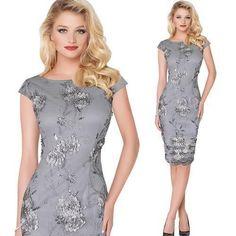 Elegant 3D Flower Embroidery Sheath Bodycon Dress