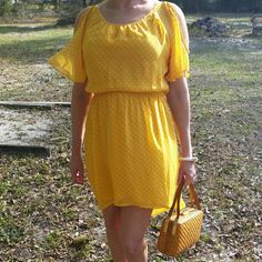 Hard to find Level Eight dress Easter DressJust add a belt & matching shoes to dress up or down. Yellow w/white polka dots, asymmetrical,  fully lined, high low Level Eight Dresses High Low