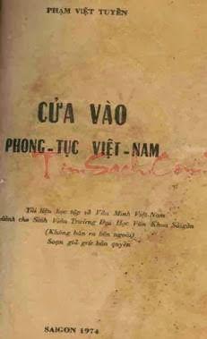 Cửa Vào Phong Tục Việt Nam (NXB Sài Gòn 1974) - Phạm Việt Tuyền, 295 Trang | Sách Việt Nam
