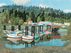 Ganges Harbour, Salt Spring Island, watercolour on paper - E. Art Houses, Outdoor Furniture Sets, Outdoor Decor, Canadian Artists, Vancouver Island, British Columbia, Home Art, Painting & Drawing, Watercolour