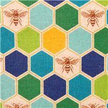 bee echino Canvas fabric blue green bee honeycomb