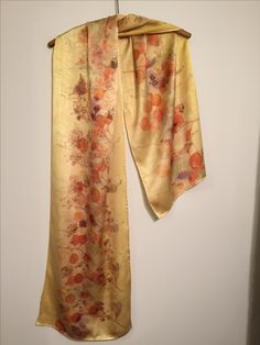Eco printed silk scarf by Rebecca Yeomans