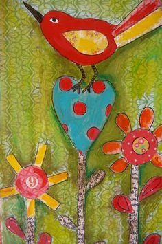 You Are Beautiful Bird Wall Decor Original Mixed Media. , via Etsy.