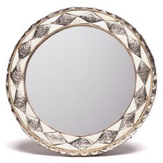 11-Inch Round Hand-Carved Bone Moroccan Mirror (Morocco) | Overstock.com Shopping - The Best Deals on Mirrors