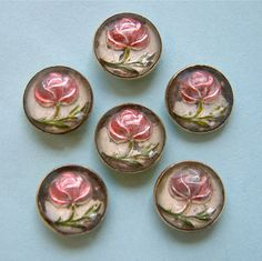 6 Antique 3-Piece Paperweight Buttons, Glass Dome Over Pink Roses, Brass Casing