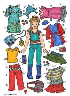Karen`s Paper Dolls: Caroline 1-6 Paper Doll in Colours. Caroline 1-6 påklædningsdukke i farver.