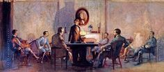 Unfinished painting by Wilbur Kurtz depicting the last Confederate States of America cabinet meeting, which was held in Washington, Georgia (Courtesy of the Atlanta History Center)