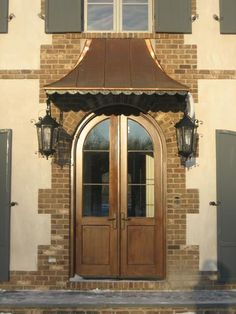 Front Door Water Damage - Page 4 - Masonry Copper Awning, Metal Awning, Front Door Awning, Window Awnings, Front Porch, Front Entry, Front Door Design, Front Door Colors, Portico Entry