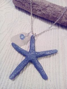 Blue starfish and sea glass necklace. Beach glass starfish jewelry