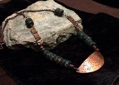 Primitive Rustic Copper Necklace Boho Gypsy Long by BraidedSouls