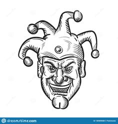 Drawing sketch style illustration of head of a crazy medieval court jester, harlequin or fool with a sarcastic silly grin or smile on isolated white background in black and white. Beauty Makeup Photography, Art Photography, Sketch Style, Beauty Tips For Girls, Court Jester, Salon Business Cards, Drawing Sketches, Drawings, Girls With Glasses