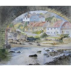 'Sandsend under the Arches, Whitby' by artbyrachel Watercolor Painting Techniques, Watercolor Landscape Paintings, Watercolor Sketch, Landscape Art, Water Architecture, Art Drawings Beautiful, Cottage Art, Building Art, Urban Sketching