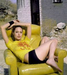 Angelina Jolie Picture in Yellow T-Shirt
