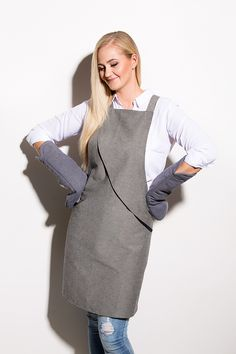 An apron for a person who's passion is baking. Designed in collaboration with a fashion designer Mariliis Soobard (Marimo Fashion). Apron Designs, Black Tie, Normcore, Grey, Fabric, Model, Cotton, How To Make, Fashion Design