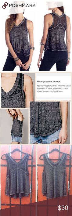 Free People Breezy Burnout Tank Free People Breezy Burnout Tank in Gray. Super super soft, very versatile because of its color, great for layering or wearing alone. This will probably be the comfiest shirt you will ever own. No trades please❤️ Free People Tops Tank Tops