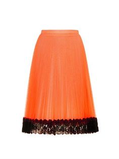 Pleated tulle and lace skirt | Christopher Kane | MATCHESFASHI...