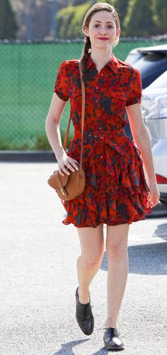 Emmy Rossum in a dress by Rachel Zoe.