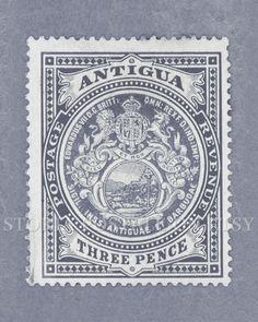 Antigua Vintage Postal Stamp Poster 8x10 Instant Download .JPG (011) via Etsy