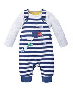 Striped Dungaree and Bodysuit Set