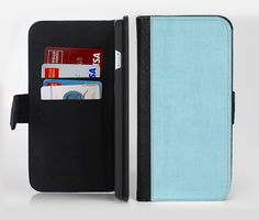 The Vintage Blue Surface Ink-Fuzed Leather Folding Wallet Credit-Card Case for the Apple iPhone 6/6s, 6/6s Plus, 5/5s and 5c from DesignSkinz