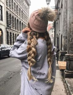Beauty ~ Dirty Blonde Dutch Braid Pigtails with Brown Beanie ♡ My Hairstyle, Pretty Hairstyles, Braided Hairstyles, Beanie Hairstyles, Hairstyle Ideas, Updo, Pigtail Braids, Long Braids, Braided Pigtails