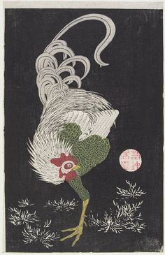(Rooster), 18th century. Japan. Itō Jakuchū. Woodblock print; ink and color on paper. MIA.