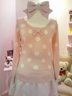 Cute pink polkadot bow sweater outfit