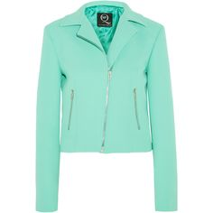 McQ Alexander McQueen Crepe biker jacket ($488) ❤ liked on Polyvore featuring outerwear, jackets, green, biker jacket, moto jacket, green motorcycle jacket, asymmetrical zip moto jacket and green jacket