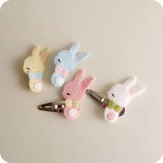 Forcine decorate con coniglietti in feltro #DIY #easter #bunny #felt #easterDIY #pasqua #faidate