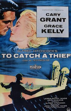 1955 Movie Poster Alfred Hitchcock CARY GRANT To Catch A Thief GRACE KELLY 1950s Vintage
