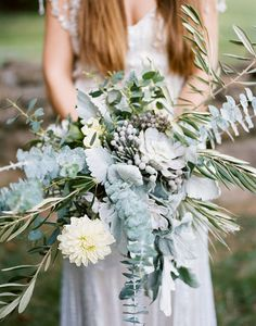 Organic silver-y blue bouquet