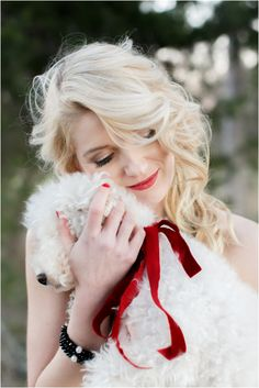 Striped Hayley Paige wedding dress and a bride with a puppy and red rose bridal bouquet. Holiday Photos, Christmas Pictures, Christmas Ideas, Christmas Wedding, Christmas Gifts, Christmas Decorations, Christmas Puppy, Christmas Nails, Rose Bridal Bouquet