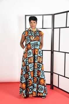 African print Kaftan Maxi Full A-line silhouette stand up collar 2 side pockets cotton Can be dressed up or down. Great look model Is tall African Clothing Stores, African Print Clothing, African Print Dresses, African Fashion Dresses, African Dress, African Outfits, African Clothes, Women's Clothing, African Inspired Fashion