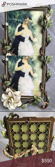 Jay Strongwater picture frame Gorgeous handcrafted in the USA picture frame by Jay Strongwater. Hand carved pewter with 14kgold and antique finishes hand enameled and hand set Swarovski crystals. Heirloom quality that will be treasured for generations Other