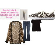 black soft tee, leopard print kimono, jeans, leopard print sneakers, and accessories by im-karla-with-a-k on Polyvore featuring polyvore fashion style Violeta by Mango maurices Charlotte Russe