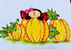 Ladybug between folk painting pumpkins