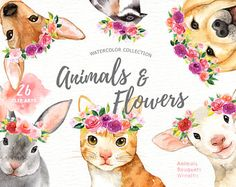 Animals and Flowers Watercolor Clip Art, Woodland Animals, Kids Clipart, Nursery Decor, floral, wreath, puppy, cat, bunny, french bulldog