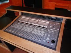 Custom Desk To Fit Avid C24 Console Solid Oak Edging With Black Laminate Finish
