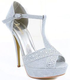 Jeweled Glitter Beaded Peeptoe Tstrap Formal Party Heels -- See this great product.