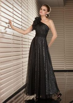 Ankle-length One Shoulder Zipper Mother of bride Dresses 2014