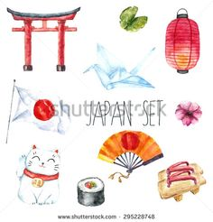 Illustration about Watercolor set of Japan. Illustration of food, flower, japanese - 60461191 Japan Illustration, Japanese Design, Japanese Art, Lantern Drawing, Japan Watercolor, Sweet Drawings, Flag Coloring Pages, Japan Image, Japan Painting