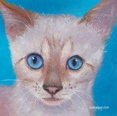 Cat painting cat art animal paintings Snow Bengal by JanMatsonArt