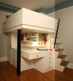 Fascinating Kids Loft Beds Preserving More Space in Small Bedroom: Mesmerizing Kids Loft Bed In Modern Kids Bedroom With White Wooden Cabine...