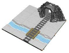 Tunel i Riu Nevat - Tunnel and River Snowy Lego Christmas Village, Lego Winter Village, Lego Village, Lego Road, Lego Track, Lego Minifigure Display, Lego Display, Lego City Train, Lego Modular