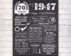 70th Birthday Chalkboard Poster Sign, 70 Years Ago Back in 1947 USA Events, Black & White, Instant Download Digital Printable File - 462