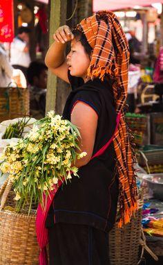 flower seller, Shan market, Inle Lake, Myanmar