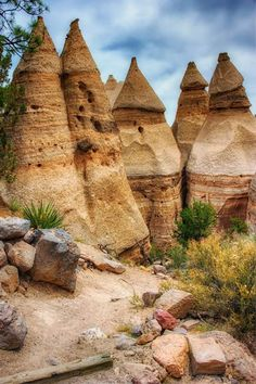 Tent Rocks in New Mexico.  The explosive beauty of Kasha-Katuwe Tent Rocks are a result of volcanic eruptions
