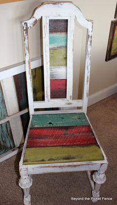 Beyond The Picket Fence: Colorful Seat, Instead of using fabric to re upholster the chair, why not wood?!!! Love it!