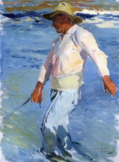 Pescador, estudio para sol de tarde. 1903 Joaquín Sorolla y Bastida Impressionist Paintings, Seascape Paintings, Landscape Paintings, Impressionism Art, Spanish Painters, Spanish Artists, Renoir, Monet, Watercolor Sketchbook