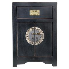 Chinese Collection Cabinet with Drawer in Black
